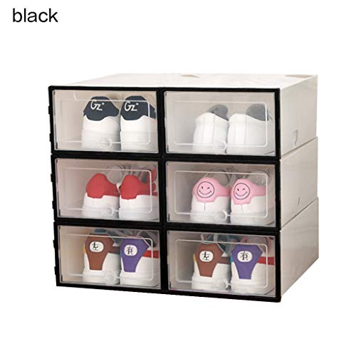 beiouya 6Pcs Upgrade Clear Transparent Plastic Shoe Storage Box PP Thickened Drawer Stackable Bra and Under Wear Organizer Box Sneaker Boxes Black