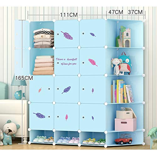CCSU Portable Wardrobe Organizer Small Armoire Modularcloset with Hanging Rod for Storing Clothes Shoe Rack-Blue L147×w47×h165cm58x19x65inch