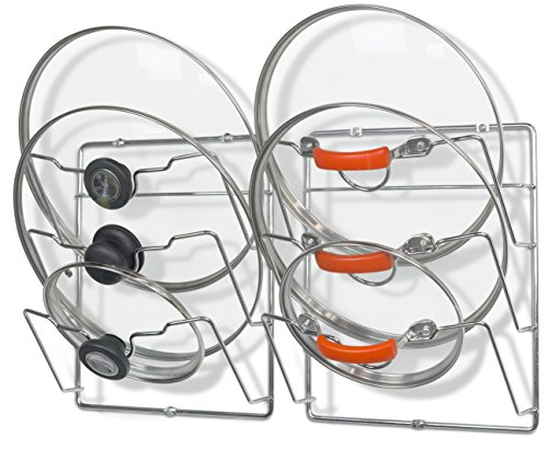 2 Pack - SimpleHouseware Cabinet Door  Wall Mount Pot Lid Organizer Rack Chrome