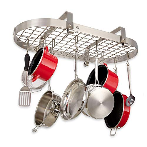 Handcrafted 37 Low Hanging Oval Pot Rack w 18 Hooks Stainless Steel