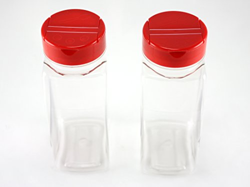 Skyway Supreme Large 16 OZ Clear Plastic Spice Bottles Jars Containers - Set of 2 - Flap Cap Pour and Sifter Shaker Durable Refillable Perfect For Storing and Dispensing Herbs and Spices - BPA Free