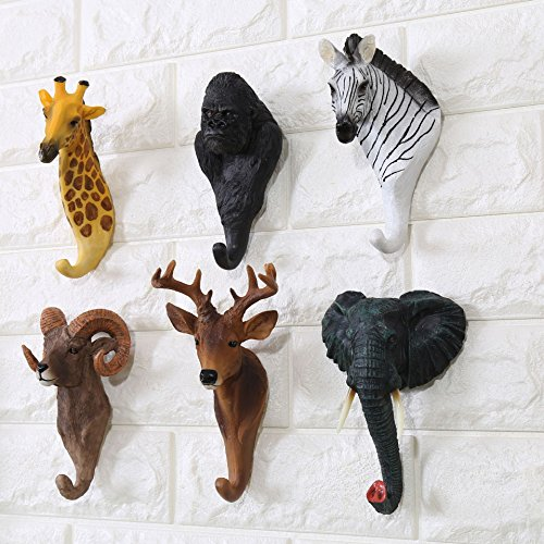 Bueer 6 Pack Resin and Iron Rustic Vintage Wall Hook Wall Rack with Hook Animals