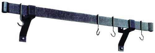 Enclume Premier 54-Inch Rolled End Bar Wall or Ceiling Pot Rack Use with Wall Brackets or Captain Hooks Hammered Steel