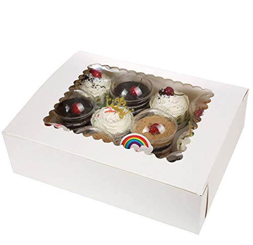 Bakery Boxes for Cupcakes with Display Window and Cupcake Inserts 12 Pack Each Recyclable Bright White Box Displays 1 Dozen Cup Cakes case of 12
