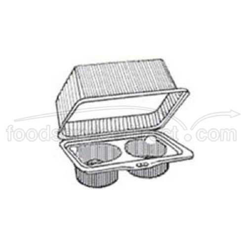 2 Count Clear Plastic Hinged CupcakeMuffin Container - 100 per case