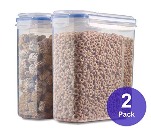 1790 Gallon Cereal Container 2 Pack - Free Label Kit 4 Sided-Locking Lid Watertight Airtight Space Saving Built-in Handle BPA Free - Flour Container Sugar Dispenser Food Storage Container