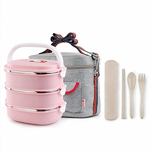 WORTHBUY Portable Food Container Storage Stainless Steel Bento Box Thermal Children Kids Lunch Boxs Picnic School Tableware Set Pink Sets 3