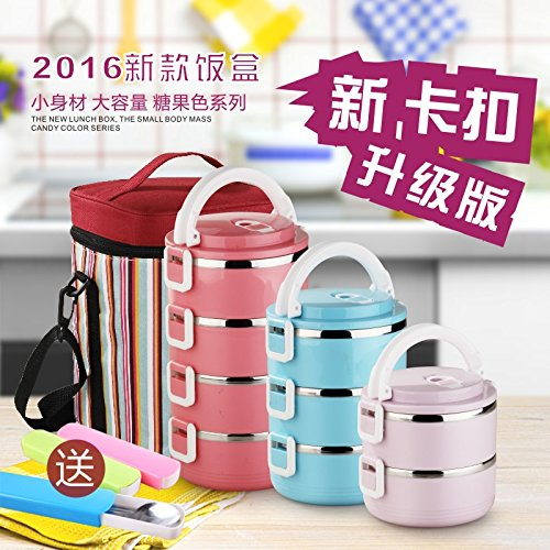 BGmdjcf Multi-Tier 3 Keep-Warm Lunch Boxes Bento Boxes Layer Of The Stainless Steel Vacuum Flask And Adult Students 2 Double Cell Meal Boxes 4 4 Parties Detained Layer Deep Violet Containing The Bag