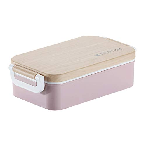 Bento Box Lunch Box for Kids and Adults Leakproof Lunch Containers with Compartments Lunch Box Made by Wheat Fiber Material Color  Pink
