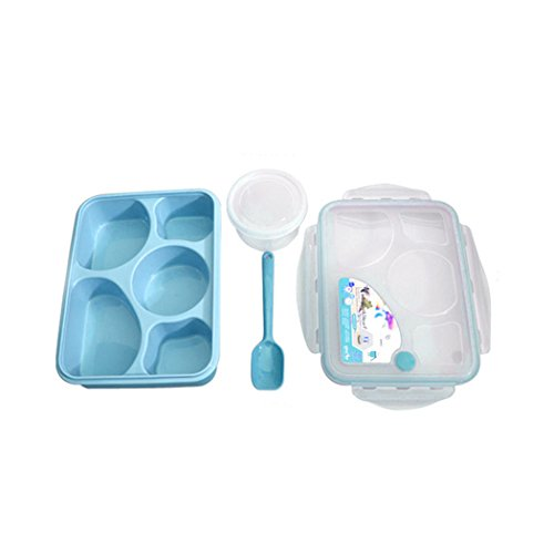 Lunch BoxCOOKI 1pcs PP Five Plus A With Bowl Microwave Multi-Compartment Lunch Box Containers For Men Women Bento Lunch BoxMeal Prep Container215×158×6cmLxWxH Blue