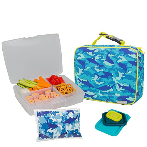 Bentology Lunch Bag and Box Set for Boys - Includes Insulated Sleeve with Handle Bento Box 5 Containers and Ice Pack - Camo