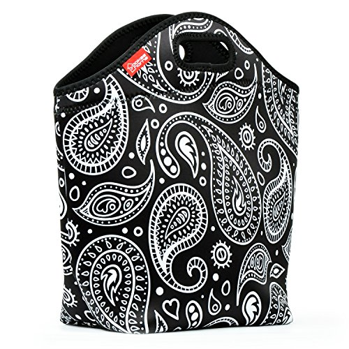 Neoprene Lunch Tote - Yookeehome 14 x 14 x 55 Extra Large Insulated Lunch Bag Box for Women Girls Adult Students Great for Picnic Travel Work School Paisley