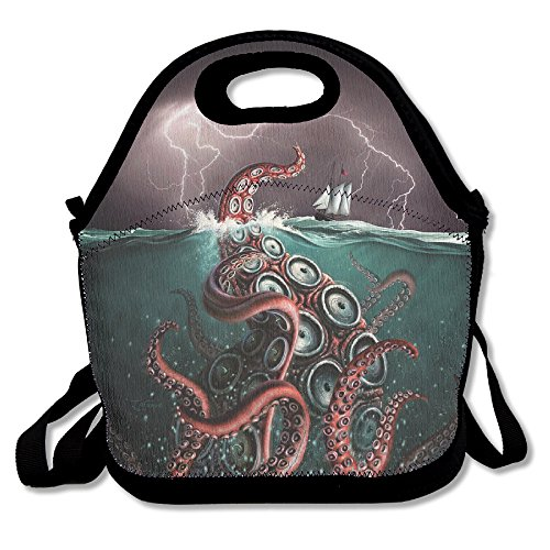 Beast In Deepsea Octopus Unisex Large Insulated Lunch Bag 11 X 7 x 6