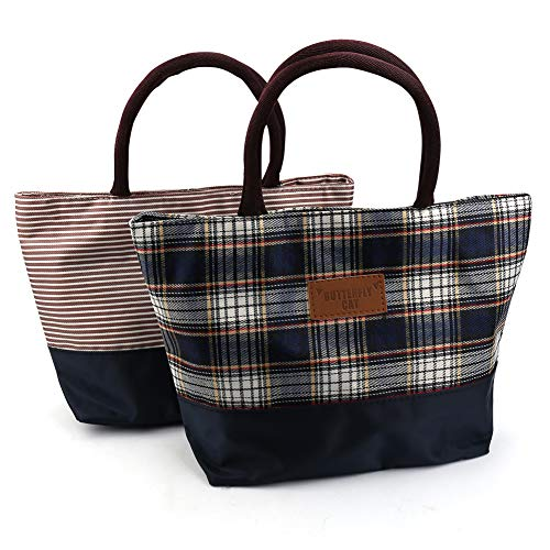 Rommeka 2 Pack Reusable Lunch Tote Bag with Zipper Closure Foldable Lunch Bag for WomenAdults 2 Pack Brown Stripes Multicolor Plaid