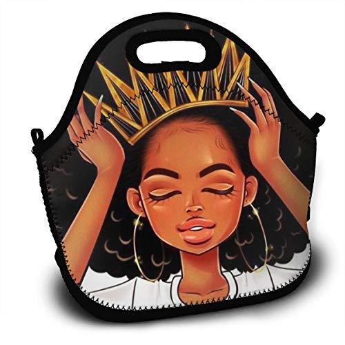 SARA NELL Neoprene Afro Queen Lunch Bag African American Women Girl with Crown Afro Girl Lunch Tote Travel Picnic Lunch Backpack Lunchbox with Adjustable Shoulder Strap for Women Teens Girls Kids