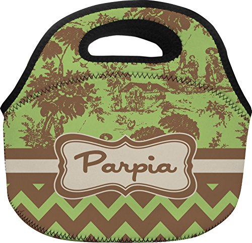 Green Brown Toile Chevron Lunch Bag - Large Personalized
