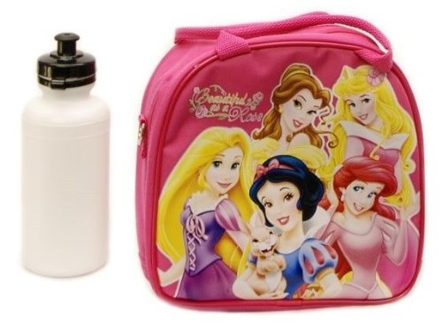 New Disney Princess Lunch Box Bag with Shoulder Strap and Water Bottle Pink