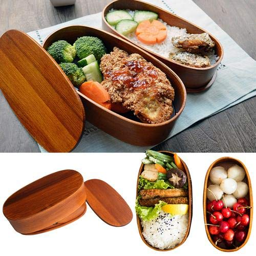 Lunch Boxes Japanese Vintage Traditional Natural Square Wooden Lunch Containers Womens Mens Adult Kids Wood Bento Boxes