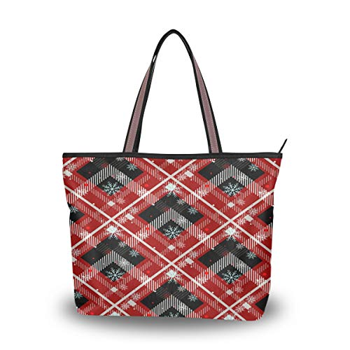 Nander Reusable Canvas Bag - Attractive Tote Bag with Printed Red And Black Tartan Durable with Double Stitch and Sturdy Shoulder Straps