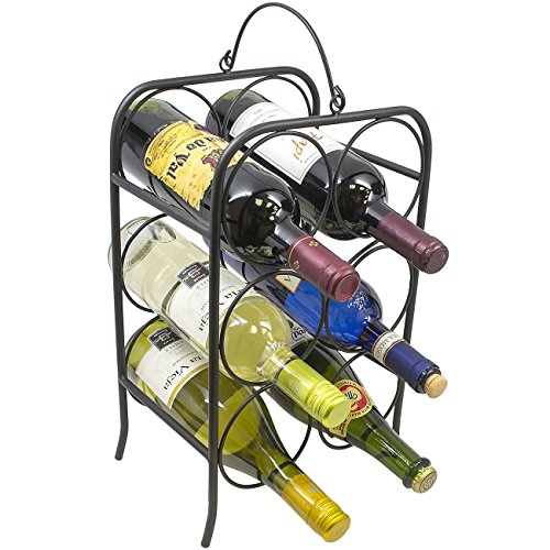 Sorbus 6 Bottle Freestanding Wine Holder Rack- Classic Arch Style Wine Stand Designed for Countertops Tabletops and more - Great for Small Spaces