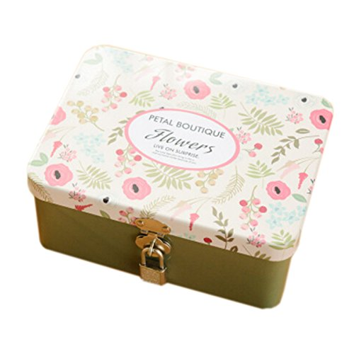 Iron Tin Container Tin Storage Gift Box With Lock Key Beautiful Flowers