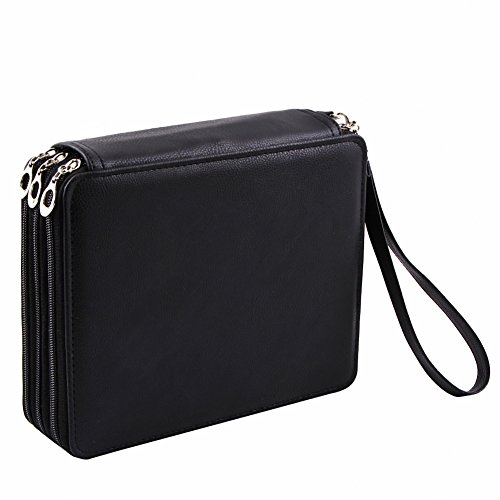 OLike Deluxe Pencil Case Holds 120 Pencils Pu Leather Black
