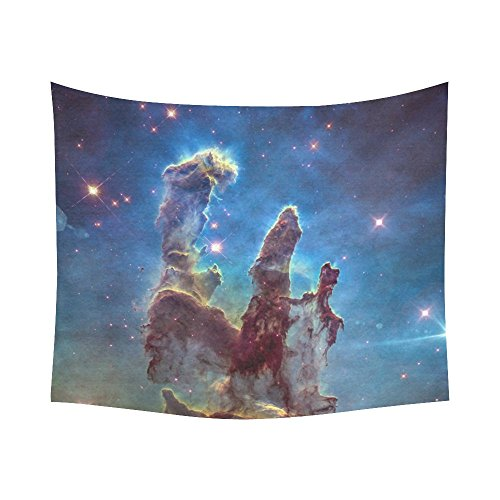 Interestprint Galaxy Carina Eagle Nebula Pillars of Creation Tapestry Horizontal Wall Hanging Outer Space Universe Wall Decor Art for Living Room Bedroom Dorm Cotton Linen Decoration 51 X 60 Inches