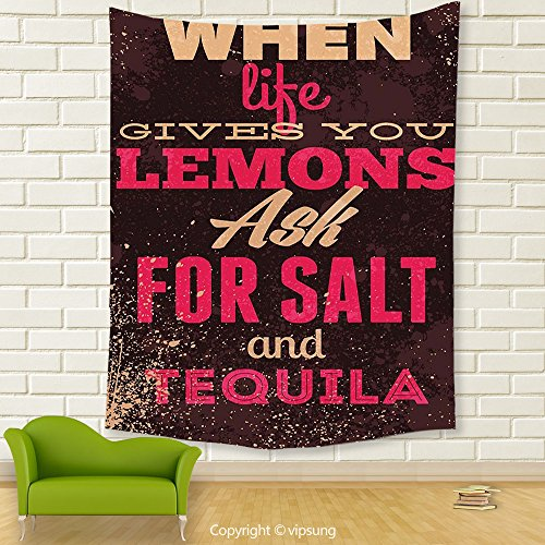Vipsung House Decor Tapestry_Vintage Decor When Life Gives You Lemons Tequila Motivational Quote Yin Yang Grunge Image Brown Pink_Wall Hanging For Bedroom Living Room Dorm