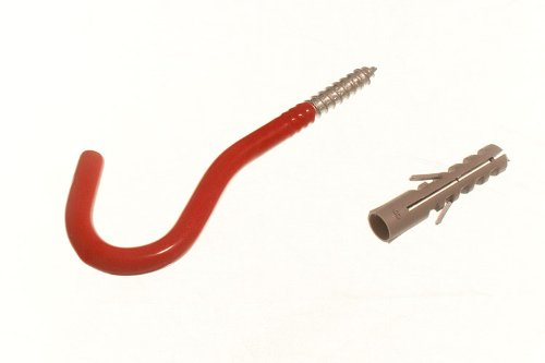 RED WALL HOOK ELEPHANT UTILITY TOOL STORAGE HOOK WITH RAWL PLUGS  pack 6