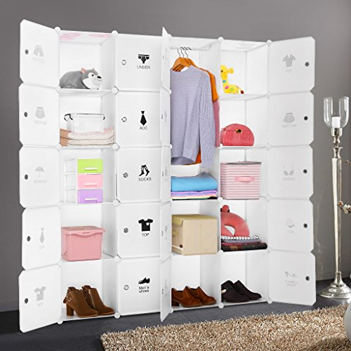 LANGRIA 20-Cube Muti-use DIY Portable Storage Drawer Closet Wardrobe Organizer Systembookcase cabinet with Lids Hanging Rod Various Category Icons Stickers for Home Decoration Milky White