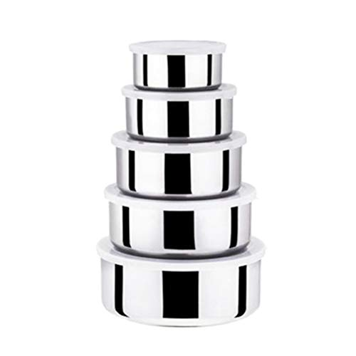 BESTONZON Stainless Steel Nesting Food ContainersSet of 5with Silicone LidsSpace-Saving Food Storage BoxDurable ReusableLeak ProofStackablefor Camping Lunch Picnics and Travel