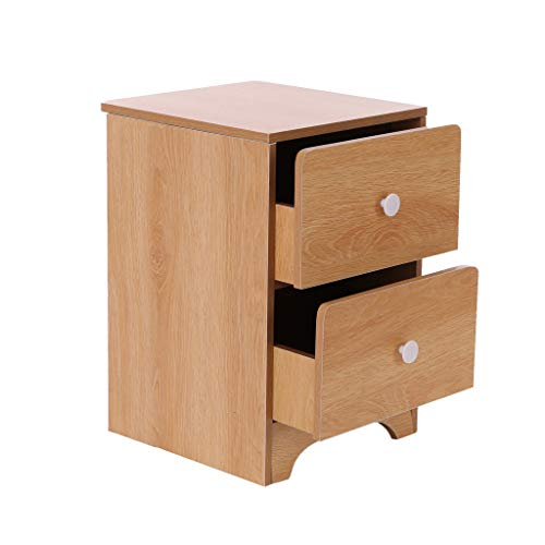 Bedside Table Simple Modern Imitation Wood Storage Cabinet Simple Bedside Small Cabinet Locker Economy Bedroom Cabinet Nordic Pine Color Double Drawer Large