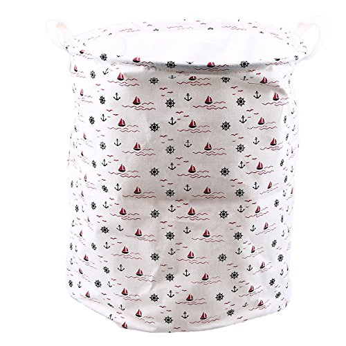 WHOSEE Sailboat Fabric Foldable Round Laundry Basket Hamper Closet Storage Bin Bag