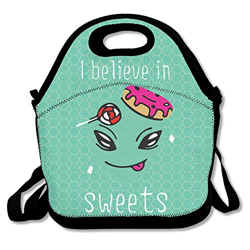 Alien Loves Sweets Lunch Tote Bag Zipper Reusable Lunch Box With Shoulder Strap