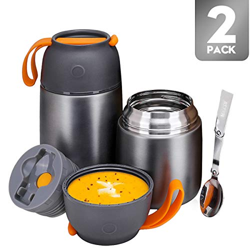 Vacuum Insulated Thermos Food Jar for Hot Cold Food for Kids Adult 24 oz and 17 oz Set Stainless Steel Soup Thermos Lunch Food Jar with Spoon 2 Pack Insulated Lunch Containers Leak-Proof Gray