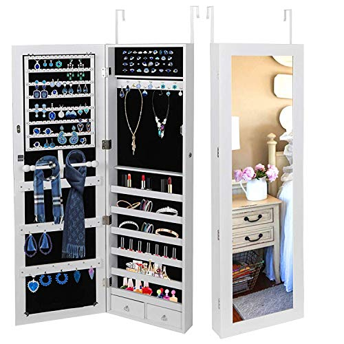 Oteymart Jewelry Armoire Cabinet Lockable Wall Door Mounted Hanging Jewelry Cabinet Box Organizer with Mirror 2 Drawers Bedroom Living Room Cloakroom Closet