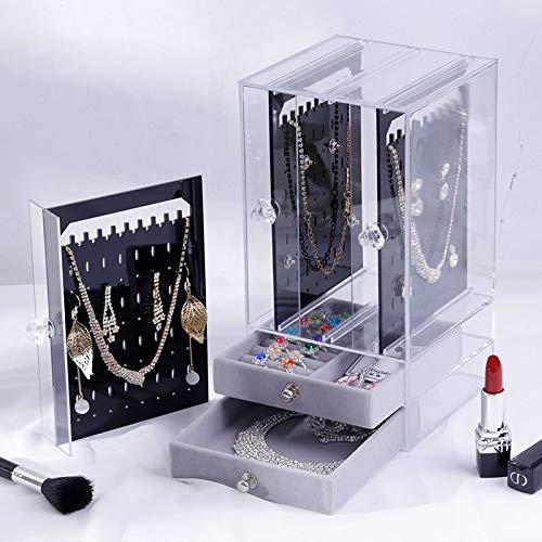 Sooyee Jewelry Box for WomenRing Earrings Necklace Bracelet Hanger Acrylic Jewelry Storage Display CaseLargeBlack Drawers