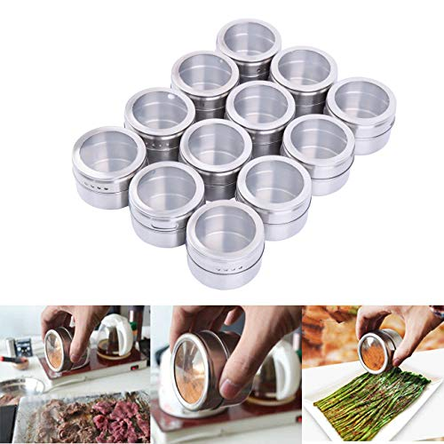 Yunge 12 Magnetic Spice Tins Stainless Steel Storage Container JarsSeasoning Organizers Metal Spice Jars Storage Tins with Transparent Lids 65cm