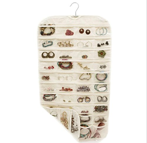 GYMNLJY 80 Grid Non-woven fabric Double-sided PVC Hanging Jewelry Storage Bag Household Supplies Organizer£¨pack of 2£  beige
