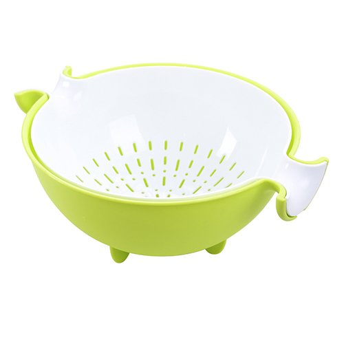 AiQi Double Layer Draining Basket - Creative Round Rotation Kitchen Colander - Multifunctional Washing Bowl Strainer for Fruits Vegetable Cleaning Green