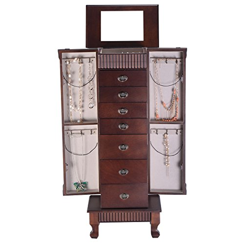 Wood Drawer Jewelry Organizer Cabinet Collection Storage Accessories Lid Chests