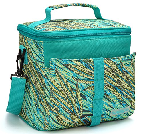 MIER Insulated Lunch Bag Cooler Bag Tote for Adult and Kids 9can Colorful Panicle