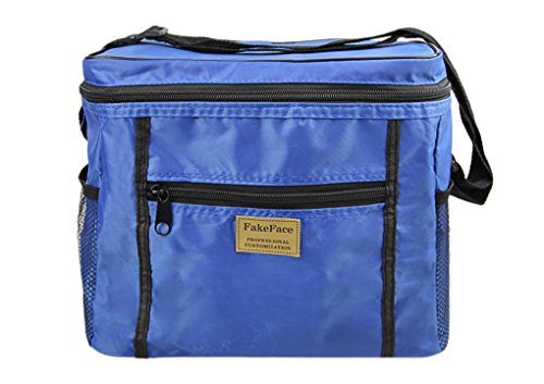 Large Foladble Insulted Lunch Bag Durable Oxford Cooler Bag Organizer Mesh Side Pockets Zipper Travel Picnic School Work Lunch Box Food Container Storage Tote Adjustable Shoulder Strap Royal Blue