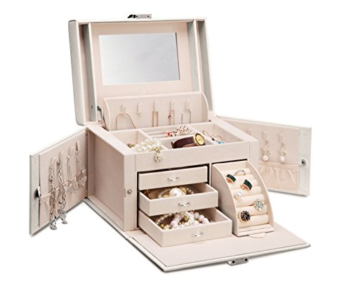 Vlando Faux Leather Jewelry Box Organizer 6 Colors Available Vintage Gift Case White