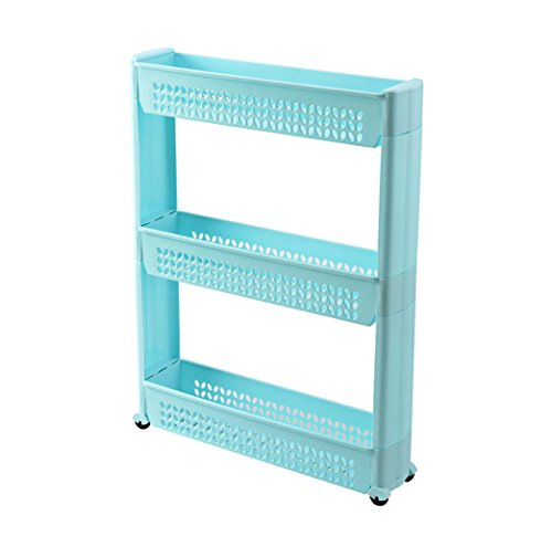 Hongshida Gap Storage 3-Tier Slim Storage Cart- Shelving Ideas Solutions for Narrow Spaces in Laundry Kitchen Bathroom Apartments Closets BluePack of 1