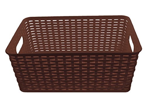 YBM Home Plastic Rattan Storage Box Container Open Bin Basket Closet Shelf Kitchen Cabinet Pantry Office Desktop Organizer ba426-brown Large Brown