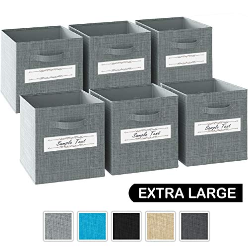 13x13x13 Large Storage Cubes - Set of 6 Storage Bins Features Label Window 2 Handles  Cube Storage Bins  Foldable Closet Organizers and Storage  Fabric Storage Box for Home Office Grey