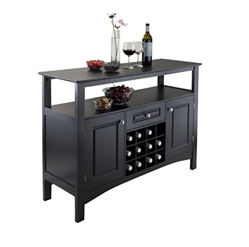 Liquor Storage Cabinet with Drawers in Black Buffet Furniture – Dining Room Server is Great for Storage of Your Favorite Bottles of Wine Liquors Glassware Dishes and Drinking Accessories
