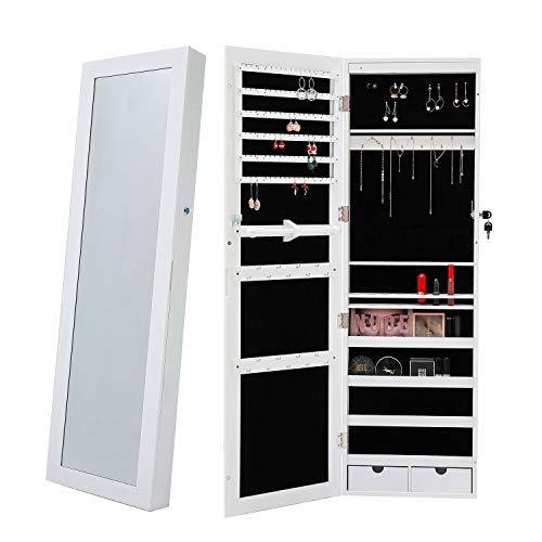 Berry Ave Lockable Mirror Jewelry Cabinet with 6 LED Lights Jewelry Organizer Wall Mounted Over the Door Large Jewelry Organizer Fits All of Your Jewelry Jewelry Armoire in White