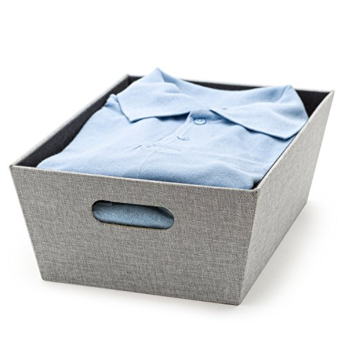 Creative Scents Decorative Storage Basket for Shelves Fabric 11 x 1525 x 525 Closet Organizer Bin for Shelves with Built-in Handles Storing Beddings Toys Books More Gray Birch